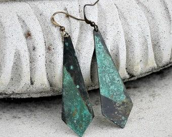 Patina Dangle Earrings, Teal, Rustic