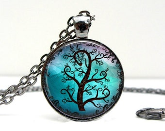Black Forest Necklace Glass Dome Picture Pendant Photo Pendant Handcrafted Jewelry  (1113)