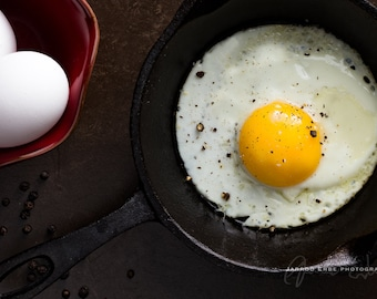 Food Photography - Rustic Fried Egg - Kitchen Decor
