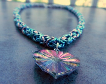 Unicorn Heart Chainmaille Necklace - Byzantine Pastel Chainmail Heart Necklace