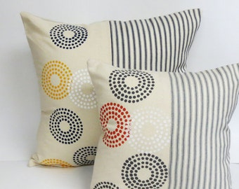 Hand Printed Decorative Pillow - Mid Century Geometric Hand Printed Pillow