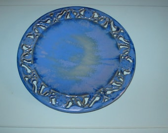 Oriental Pierced Decorative Plate-Blue-1988 Numbered