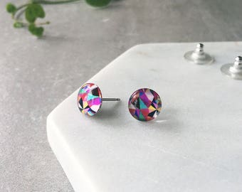 Colorful earrings - bright and colourful earrings - hokey pokey multicolour - small Glass stud post earrings - Hypoallergenic post earrings