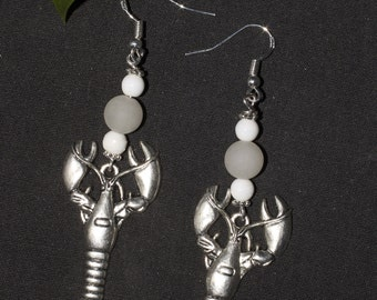 Crayfish of the Unconscious Earrings - Moon Tarot Card - Pagan, Divination, Quirky