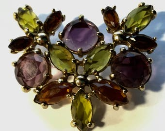 Vintage Monet Rhinestone Brooch Purple Green Topaz
