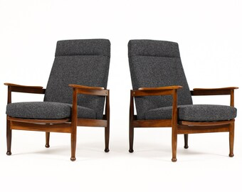 Danish Modern / Mid Century Teak Reclining Lounge Chairs — Charcoal Textile — 'Manhattan Chair' — Pair