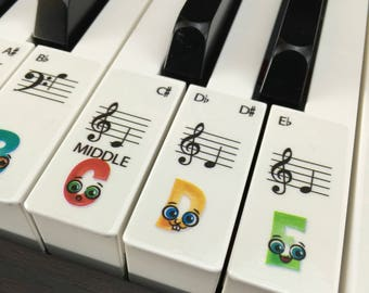PIANO STICKERS, Learn, CHILDREN'S Keyboard / Piano Stickers for up to 61 keys gloss clear available