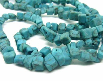 turquoise square chips PR012.5 100 beads