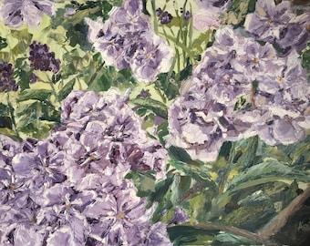 Purple Violet Flowers Oil Painting Impressionist Original