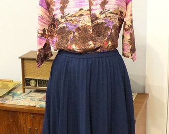 Vintage 1960s | Pleated Navy Polyester Skirt |  Size M - L | by Talbott Traveler