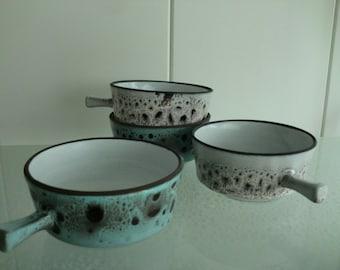 4 retro vintage design soepkommen soup bowls - keramiek -