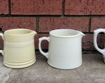 Vintage White Ceramic Crock Style French Country Farmhouse Rustic Cream Warm Syrup Pitcher Creamer Spout Utensil holder Farmhouse Decor