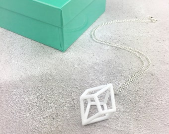 White 3D Printed Geometric Necklace, Geometric Statement Necklace, Tetragonal Trapezohedron, Geometric Pendant, 3D Printed Necklace