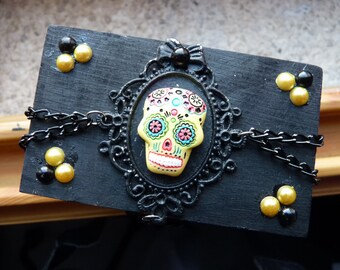 Mexican Sugar Skull Yellow Gothic Mini Chest