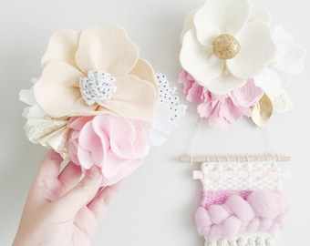 Felt Flower Wall Decoration, Wall Hook, 8 Designs to Choose From, Baby Shower, Read Item Details, Removable Wall Hook, Wall Hanging, Party
