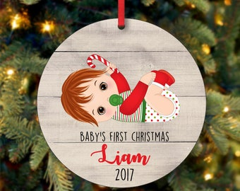 Baby Boy First Christmas Ornament, Personalized Christmas Ornament, Custom Ornament, Red Head Baby Boy Christmas Ornament (0094)