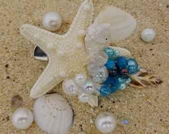 Blue bubbles with Starfish hair clip