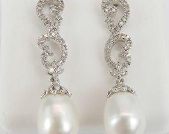 Pearl and Diamond Dangle Drop Earrings 14K White Gold June Birthstone Wedding Gift