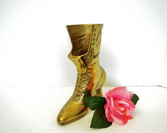 Brass Victorian Boot Vase