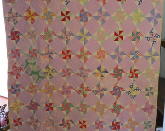 """Antique Double Pinwheel Pattern Hand Pieced Sewn Stitched Quilted Feedsack Quilt 59""""x 79"""""""
