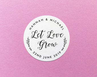 Custom Let Love Grow Stickers, Simple Wedding Favour Label, Seed Packet Stickers, Floral Let Love Grow Label, Wedding Seed Sticker Botanical