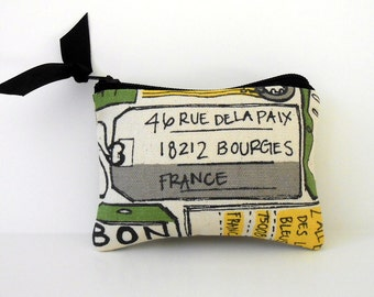 Coin Purse or Business card holder,Grey and Yellow Travel to France