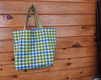 Houndstooth and Chambray Vintage Fabric Bag