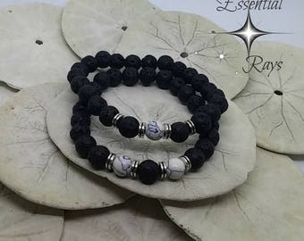 Couple Bracelets His and Hers Bracelet Set Essential Oil Diffuser Bracelets Black Lava Friendship Bracelet Matching Bracelets for Couples