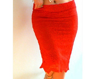 Red Lace stretch skirt -Low rise pencil skirt- Women fitted pink aqua skirt- sexy red skirt-Cocktail lace skirt- occasion stretch lace skirt