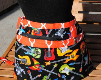 Handmade Vendor Apron Zipper Vendor Apron Electric Guitars Black  Apron Farmers Market Teacher Craft Server Gardener Cash Pockets Blue Green