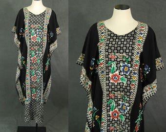 vintage 70s Caftan - Tribal Batik Caftan Festival Maxi Dress 1970s Boho Hippie Dress Lounge Wear S M L