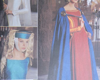 Medieval Cape Headpiece Toque Crown Historic Costume Stage Play Simplicity 8728 PATERN One Size