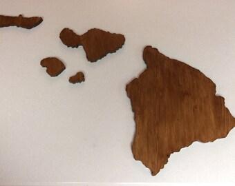 Handcrafted Large Wooden Hawaiian Island Set