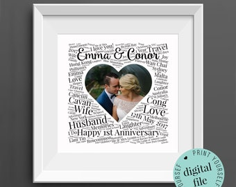 Personalised 1st ANNIVERSARY GIFT - Word Art - Printable Gift - Gift for Husband - 1st Wedding Anniversary - Paper Anniversary - Wife Gift
