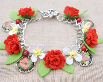 Red Carnation bracelet Clematis flowers and butterfly cabachons
