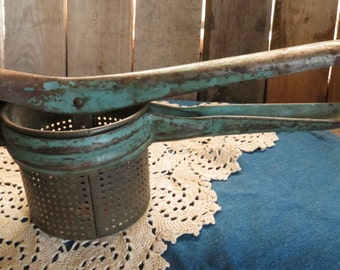 Vintage, Rustic, Potato Ricer With Blue Handle