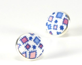 Pink Stud Earrings, Patches of Scarecrow Earring Studs, Pink, Blue Fabric Covered Buttons, Silver Toned Earrings, Posts, Jewelry