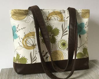 Tote Bag, Purse, Shoulder Bag, Service Bag in Meadow Flowers Cotton Fabric with Faux Nubuck Suede - Lots of Pockets! - Ready to Ship