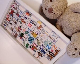 Personalised Nursery Alphabet Sampler, cross stitch Abc, alphabet cross stitch