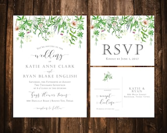 Wildflower Wedding Invitations; Green, Fuchsia; Printable OR set of 25