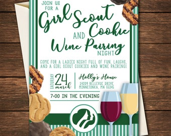 Girl Scout Cookie Invitation, Girl Scout Cookie Party Invitation,Girl Scout Cookie and Wine Pairing Party,Girl Scout Cookie and Wine Pairing