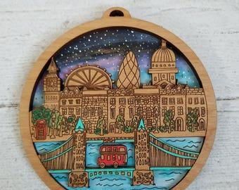 London Mini City Art, London Map Illustration, London Souvenir art,  Gift for travelers, Custom Engraving, Custom Gift, Laser Engraved art