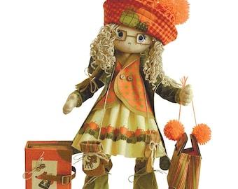 "Doll Making Kit, Set for sewing doll, Textile doll ""Autumn"", Set for textile doll, Handmade doll, Sewing kit, Rag doll, FREE SHIPPING"