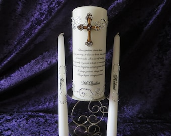 Three Piece Unity Candle set with wooden cross and couple's new last name  - your wedding verse