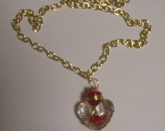 Pretty Glass Heart Wire Wrapped Necklace