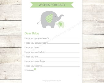 wishes for baby shower printable DIY elephants bright green grey cute baby gender neutral digital shower games - INSTANT DOWNLOAD