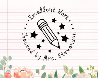 Personalized Teacher Stamp, Self Inking Stamp, Custom Teacher Rubber Stamp, Excellent Work Teacher Stamp, Personalized Stamp, Teaching kids