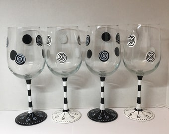 Black and white swirls and stripes hand painted wine glasses