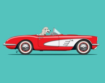 Poodle dog driving a red Corvette - 'Betty' is perfect for nursery or children's room or as a special gift for someone