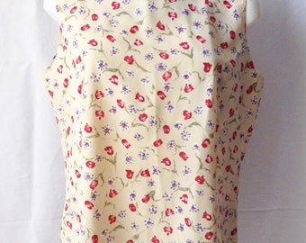 Top / Top, without sleeve, beige background, flowers, T F 42 / 44, US 33, UK 14 / 16.